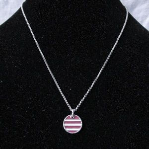 Lia Sophia silver necklace,striped pendant